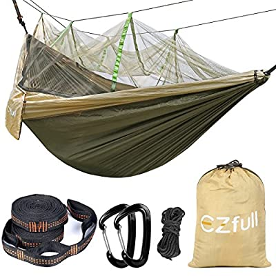 """Double Camping Hammock with Mosquito Net EZfull - Lightweight Portable Hammock 660LBS Outdoor Hammock , Best Parachute Double Hammock For Backpacking, Camping, Travel, Beach, Yard. 118""""(L) x 78""""(W)"""