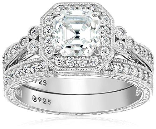 Platinum-Plated Sterling Silver Swarovski Zirconia Asscher Cut Antique Ring Set, Size 9 (Antique Ring Size 9)