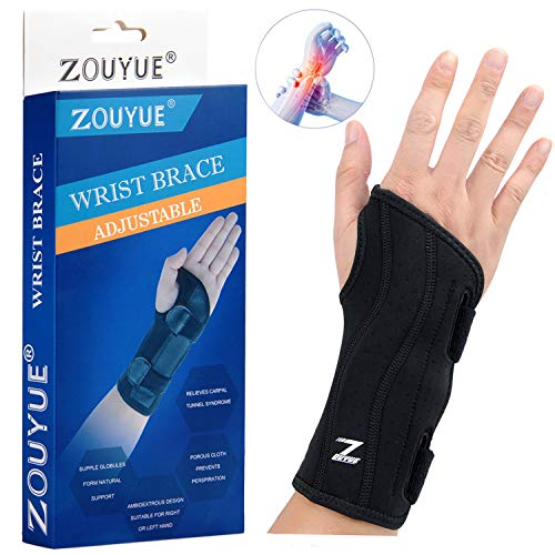 Carpal Tunnel Wrist Brace, Night Sleep Wrist Support, Removable Metal Wrist Splint for Men, Women, Tendinitis, Bowling, Sports Injuries Pain Relief - Right (Best Night Wrist Brace For Carpal Tunnel)