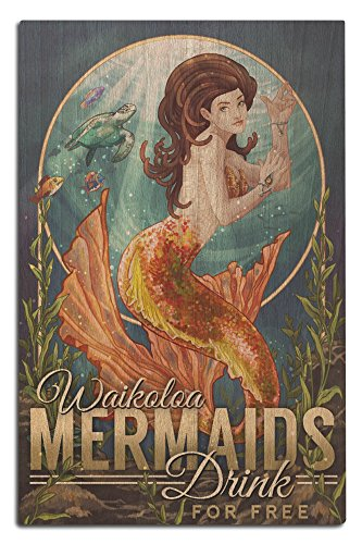 Waikoloa, Hawaii - Mermaids Drink for Free (12x18 Wood Wall Sign, Wall Decor Ready to - Waikoloa Hawaii Map