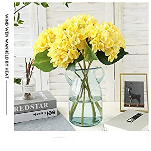 Silk Hydrangea DIY Gifts Wedding Christmas Decor for Home Fake Floristics Plastic Household Products Artificial Flowers Rattan,Light Yellow 4