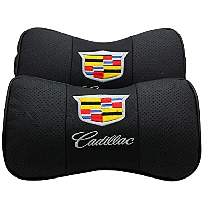JDclubs 2 PCS Genuine Leather Bone-Shaped Car Seat Pillow Neck Rest Headrest Comfortable Cushion Pad with Logo Pattern (fit Cadillac): Automotive [5Bkhe2000299]