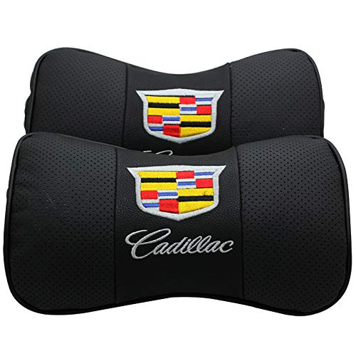 Auto Sport 2 PCS Genuine Leather Bone-Shaped Car Seat Pillow Neck Rest Headrest Comfortable Cushion Pad with Logo Pattern (Cadillac)