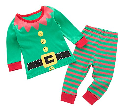 [StylesILove Holiday Season Kids Baby Shirt and Pant 2-pc Pajamas Set (90/12-18 Months, Elf Green)] (Elf Outfits For Kids)