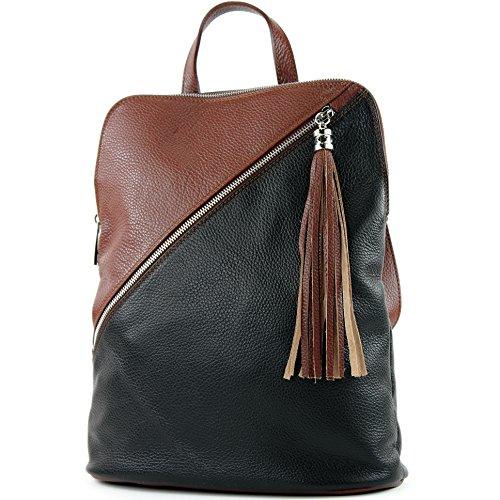cuero italianas de T161 señoras modamoda T141 3en1 Schwarz bolsa de mochila de Braun tSCq0xB