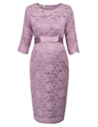 Trendy Fashion Women's Maternity Floral Lace Dress Baby Shower Party Cocktail Dress with Ribbon Waist