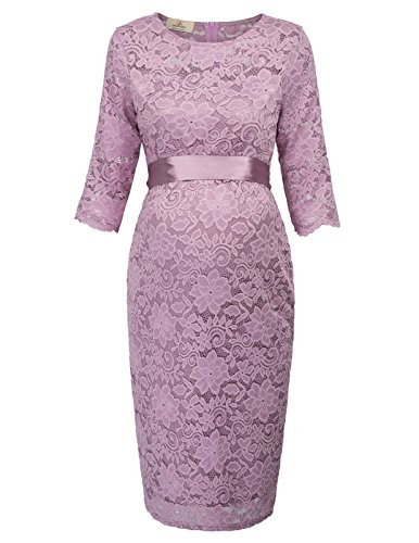 ral Lace Half Sleeves Dress Party Cocktail M Lilac AF1026-1 ()