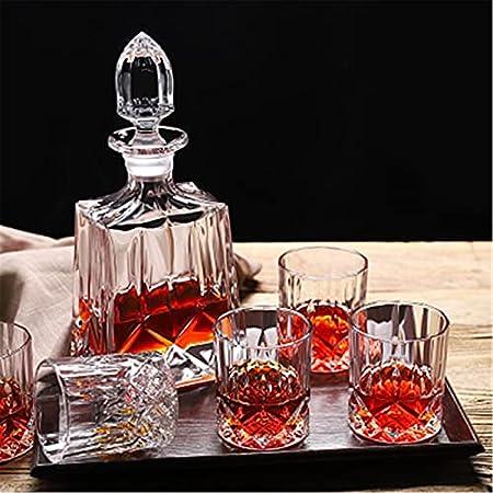 QiHaoHeji Decantador de whisky y vaso Set de decantador de licor y 6 vasos de whisky, juego de decantador de whisky (color transparente, tamaño: 7 piezas)