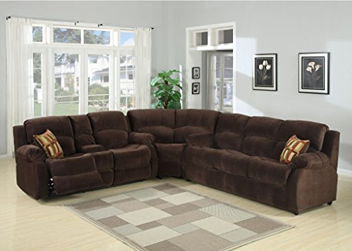 AC Pacific Tracey Collection Contemporary 3 Piece Tufted Living Room Set  With Sectional, Queen Sofa Bed, And Reclining Loveseat With Storage Console  And Cup ...