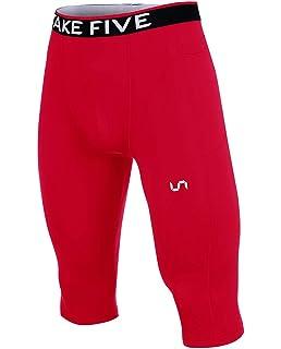 dcb1c86323870 Take Five Men's Side Pocket Compression Capri Shorts Cool Dry UV Protection  Baselayer Running Tights