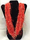 Absolutely stunning Blazing Orange Necklace - Trendy Holiday collection - Eyelash infused super Soft Yarn with Gold butterfly Tracks
