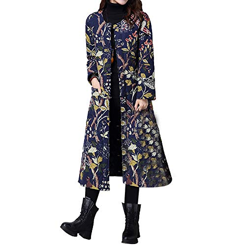 (Franterd Plus Size Winter Coat Ethnic Frog Button Down Jacket Thin Parka Big Packets Long Robe Cotton-Padded Splicing Overcoat)