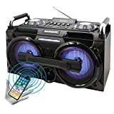 Magnavox MM438 Portable Micro Music System with Color Changing Lights FM Radio and Bluetooth Wireless Technology, USB, AUX , Micro SD Card Slot, 2 Microphone Inputs And Echo Controls, Bass Control