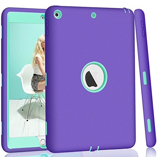 iPad 5th/6th Generation Case, iPad 9.7 2018/2017 Case, Hocase High-Impact Shock Absorbent Dual Layer Silicone+Hard PC Bumper Protective Case for iPad A1893/A1954/A1822/A1823 - Purple