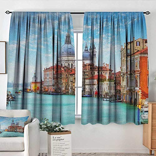 Theresa Dewey Waterproof Window Curtain Italy,Grand Canal and Basilica Santa Maria Della Salute Historical Architecture, Blue Turquoise Orange,Blackout Draperies for Bedroom - Twelve Light Maria Theresa