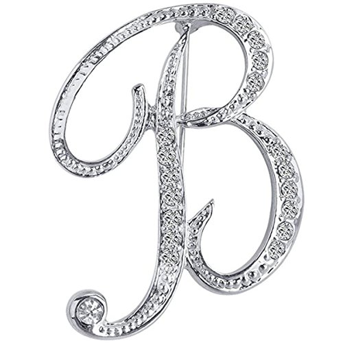 Silver Letters - ANTOLL1Pcs A to Z 26 English Letters Silver Plated Metal Clear AAA+ Crystal Lapel Pin Brooches Collar (1pcs-B)