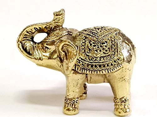 poppip Cute Elephant Thai Miniature Brass Animal Dollhouse Art Statue Figure Decor Gift Collectible 5.5 cm