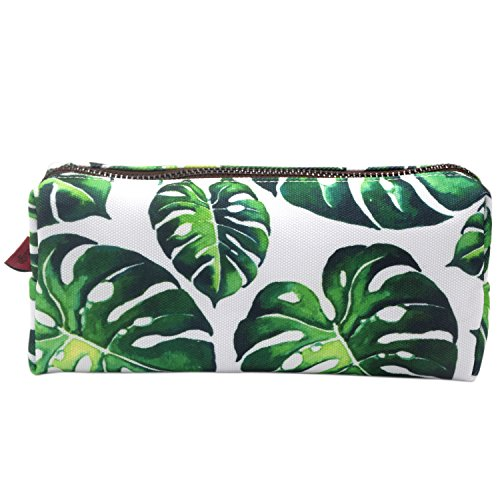 LParkin Tree Leaves Large Capacity Canvas Pencil Case Pen Bag Pouch Stationary Case Makeup Cosmetic Bag -