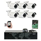 GW Security 8 Channel 4K NVR 5MP 1920P IP Camera Surveillance Video Security System – 6 x 5.0 Megapixel (2592 x 1920) Waterproof Bullet PoE Cameras, Quick QR Code Easy Setup, Pre-Installed 2TB HDD