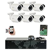 GW Security 8 Channel 5MP NVR 1536P HD IP Network POE Security System - Six 3MP (2048 x 1536) Weatherproof Bullet Cameras