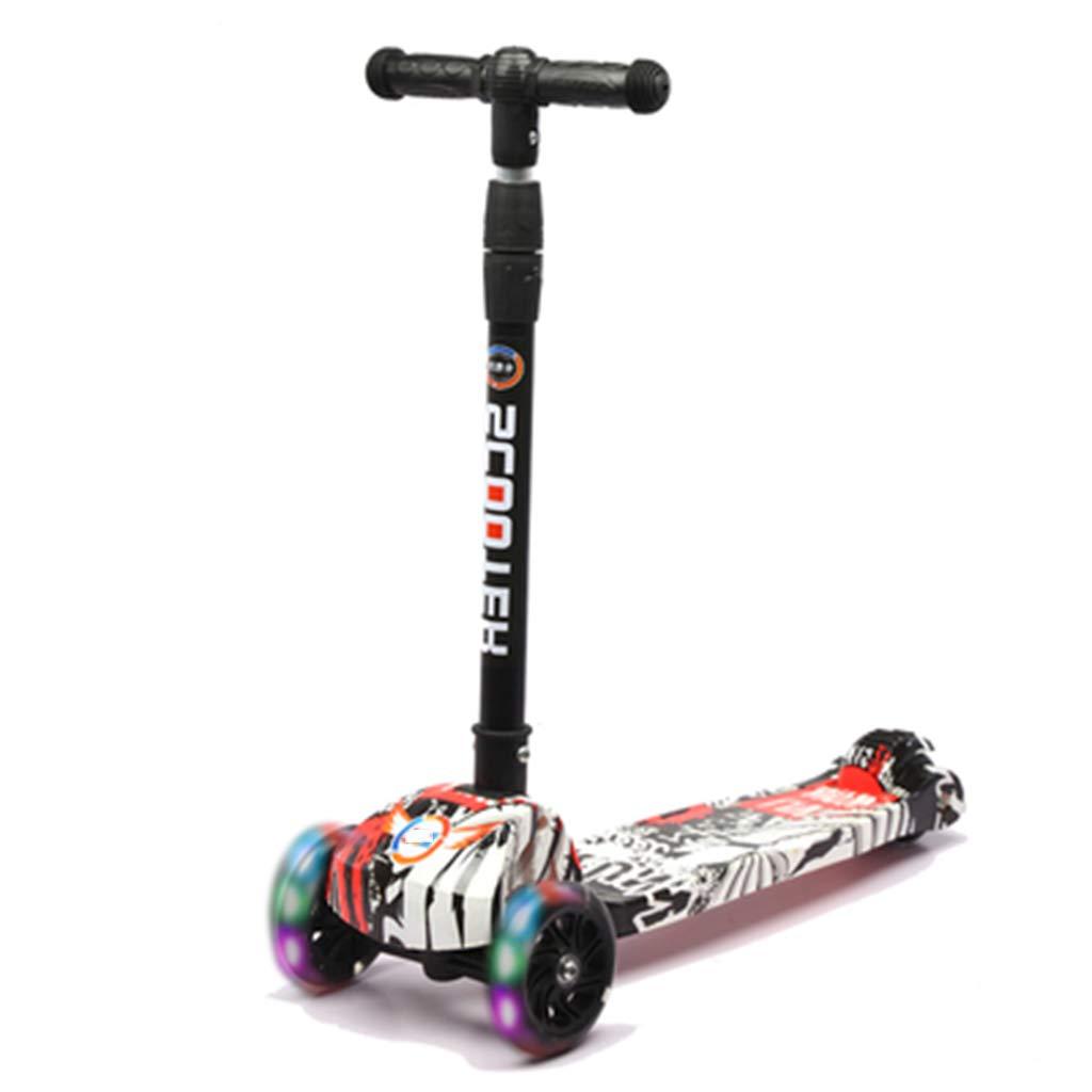 214歳の子供用4輪スクーター折りたたみ式デザインで、LEDライトアップ、滑り止めの手すり、調節可能なハンドル、軽量構造の重力ステアリング B B B07QZRGGL1 B07QZRGGL1, 遊び心のあるSelectshopyuricrispy:2e08ee0a --- swot24.net