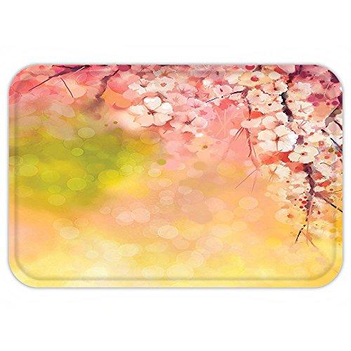 Kisscase Custom Door MatHouse Decor Japanese Cherry Sakura Floral Artwork in Soft Color over Blurred Nature Background Decor Pink Green Yellow