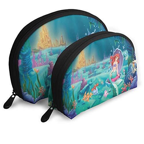 Princess Ariel Makeup Bag Travel Bags Small Shell Bag Portable Toiletry Clutch Pouch 2Pcs