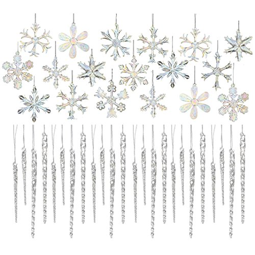 (Kurt Adler Glass 2-inch Iridescent Snowflake Ornaments 18-piece And Clear Glass Icicle Ornaments 24-piece (12 X 3.5-inch & 12 X 5.5-inch))