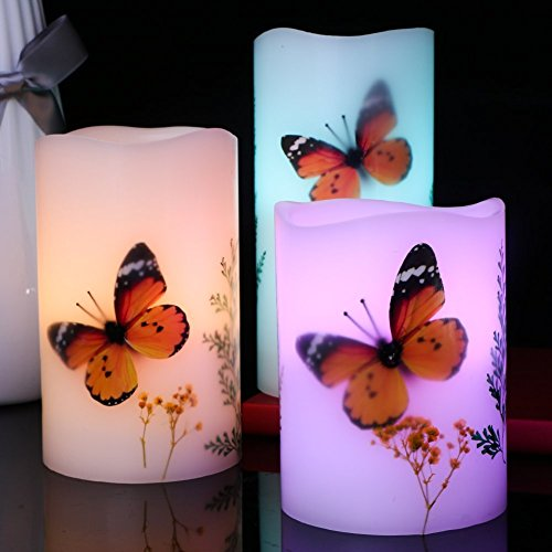 Set of 3 Flameless LED Candles Color Changing Flicker,Light Mode Option Real Handmade butterflies and plant specimens with Timer and 18-key Remote for Mothers Day,Wedding,Votive,Yoga and Decoration