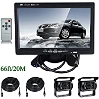 Ehotchpotch 7 TFT LCD Car Rearview Monitor & Backup Camera for Bus Truck Caravan Vehicle, 4 Pin Waterproof CCD IR Camera with Wide View Angle Parking Reverse System, Distance Scale Lines