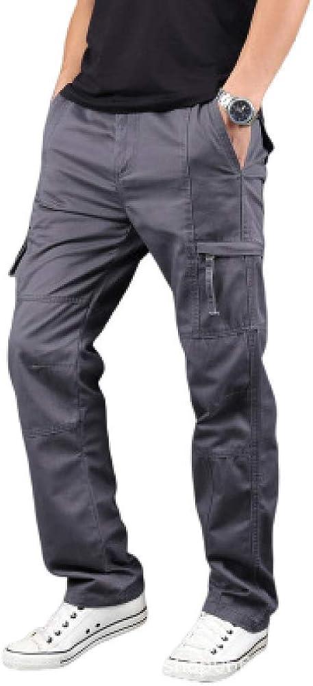 nobranded Pantalones de Hombre Pantalones de algodón Pantalones Sueltos de Varios Bolsillos Pantalones Casuales Pantalones de Trabajo de Color Liso de Gran tamaño para Hombres