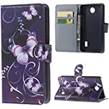 "Huawei Y635 5.0"" Case Synthetic Leather Wallet Cell Phone Cases Protective Cover Purple Butterfly Amaxy"