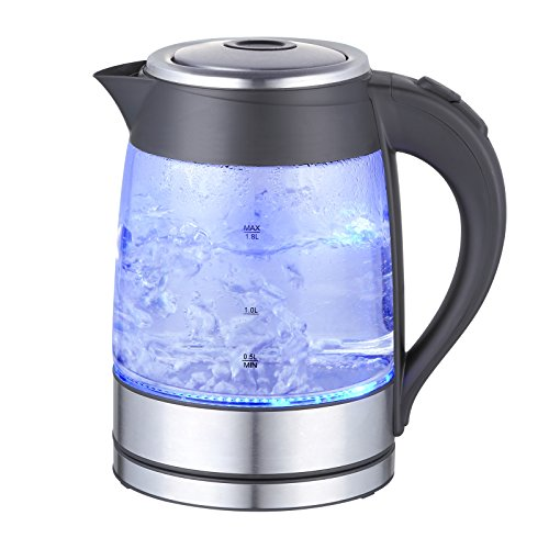 MegaChef 1.8Lt Stainless Steel body and Glass Electric Tea Kettle