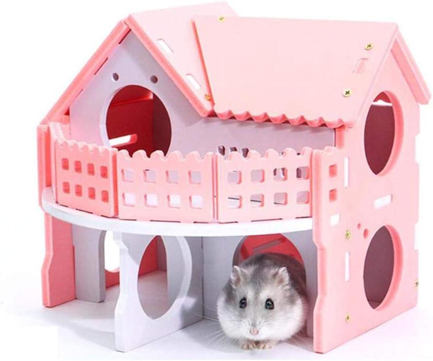 Youyababay Casa de Madera para Hamsters, Dos Pisos Diversión Hamster Jaula, Grande para su Animal doméstico, Rosa