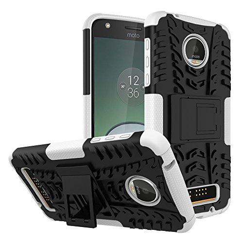 Moto Z Play Droid Case,Yiakeng Shockproof Impact Protection Tough Rugged Dual Layer Protective Case Cover with Kickstand for Motorola Moto Z Play Droid (White)