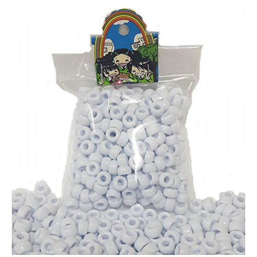 300 pcs White Acrylic Round Pony Beads for Hair Braid Dreadlock School Kids Craft Bracelet Necklace Jewelry Making Charms - Buy Online Frames India