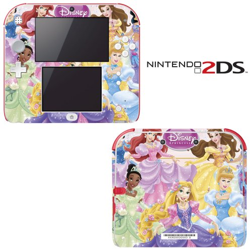 Princess Friends Sparkle Belle Rapunzel Tiana Ariel Decorative Video Game Decal Cover Skin Protector for Nintendo 2Ds