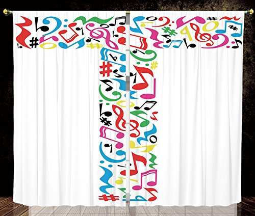 2 Panel Set Thermal Insulated Blackout Window Curtain,Letter T Uppercase T Letter Colorful Sheet Music Elements Font Alphabet Design Art Style Decorative Multicolor,for Bedroom Living Room Dorm Kitche