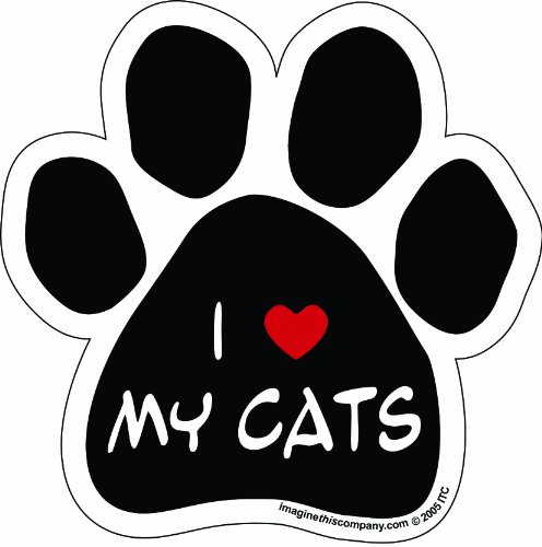Imagine This Paw Car Magnet, I Love My Cats, 5-1/2-Inch by 5-1/2-Inch - Love Refrigerator Magnet