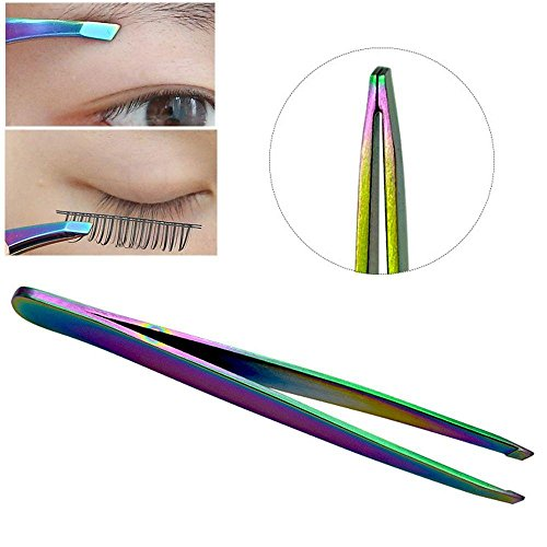Monlonen Armpit Angled Makeup Brow Trimmer Face Hair Removal Colorful Eyebrow Clip False Eyelash Tweezers