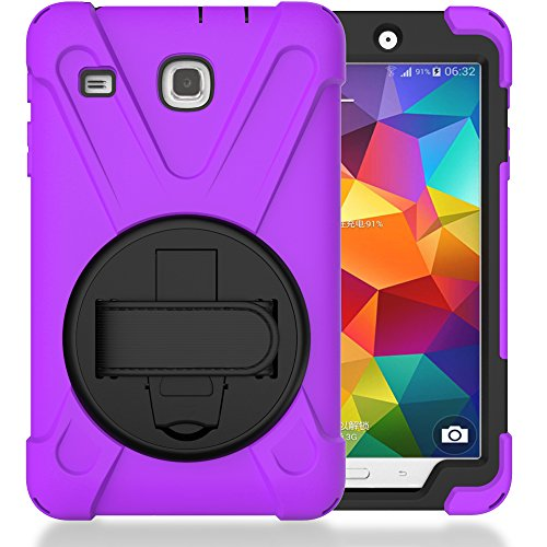 TIMISAM Samsung Galaxy Tab E 8.0 Case, Heavy Duty Hybrid Shockproof Protection Cover Built with Kickstand and Hand Strap for Samsung Galaxy Tab E 32GB SM-T378/Tab E 8.0 Inch SM-377 Tablet (Purple)