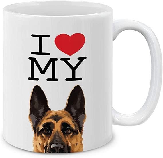 German Shepherd Dog Lover Ceramic Coffee Mug Handmade Mom Dad Tea Cup Gift