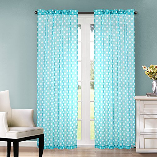 Polka Dot Sheer Window Panel, set of 2