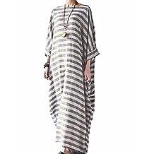 BIUBIU Women's Plus Size Linen Cotton Striped Tunic Batwing Kaftans Maxi Dress S-5XL