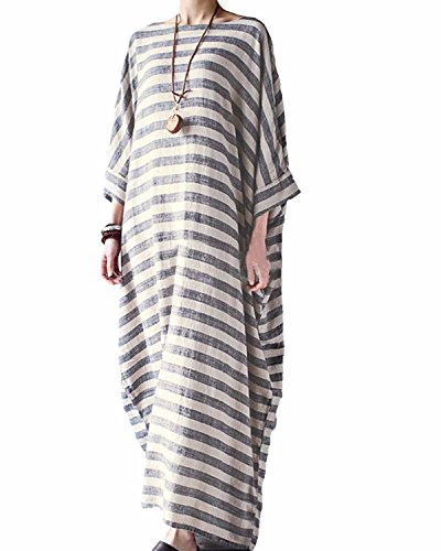 Cotton And Linen Striped Dress - 1
