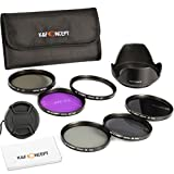 67MM Filter Kit, K&F Concept UV Protector CPLFLD ND2 ND4 ND8 ND Neutral Density Circular Polarizing Set For Nikon D7000 D5100 D90 D60 D70 D40 18-105mm DSLR Cameras Lenses + Lens Hood + Lens Cap + Cleaning Cloth + Shockproof Filter Bag