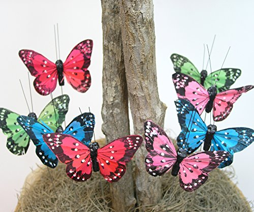 Butterfly Floral Picks with Feather Wings - Set of 12 Colorful Artificial Butterflies on Metal Wire Plant Stake Stems - Wedding Decorations