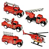 Pull Back and Go Fire Engine Truck Friction Mini Vehicles Car Toy for 3 year old,5pcs Set (Fire Engine Truck)