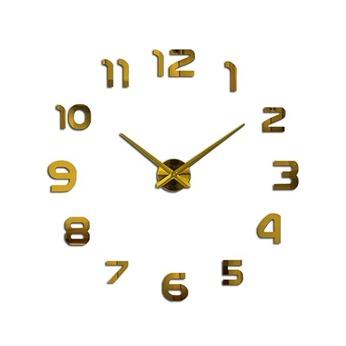 Amazon.com: PHM WCLT Nuevo reloj Reloj de pared Relojes de pared DIY acrílico Espejo decoración para el hogar sala de cuarzo aguja (Color : Gold): Home & ...