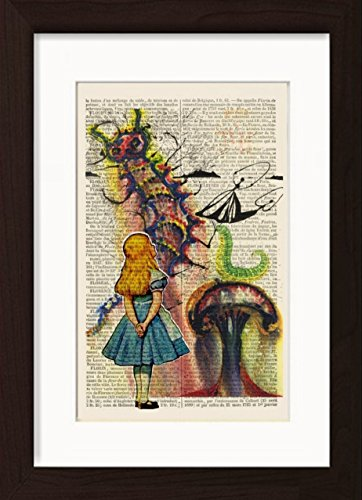 Alice In Wonderland Gets Advice From Salvador Dali's Caterpillar Mounted / Matted Dictionary Art Ready To Frame (Caterpillar In Alice In Wonderland)